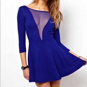 American Apparel blue skater dress with mesh front
